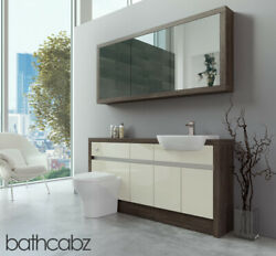 Bathroom Fitted Furniture Cream Gloss/mali Wenge 1600mm H1 With Wall Unit - Bath