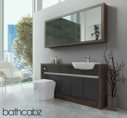 Bathroom Fitted Furniture Dark Grey Gloss/mali Wenge 1600mm H1 With Wall Unit -