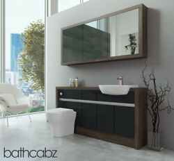 Bathroom Fitted Furniture Anthracite Gloss/mali Wenge 1600mm H1 With Wall Unit -