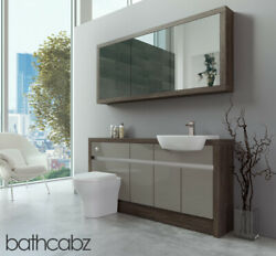 Bathroom Fitted Furniture Latte Gloss/mali Wenge 1600mm H1 With Wall Unit - Bath