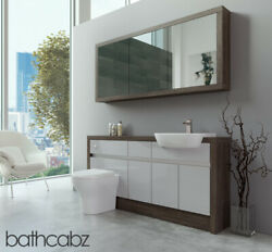 Bathroom Fitted Furniture Light Grey Gloss/mali Wenge 1600mm H1 With Wall Unit -