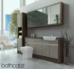Bathroom Fitted Furniture Latte Gloss/mali Wenge 1600mm H1 With Wall And Tall - Ba