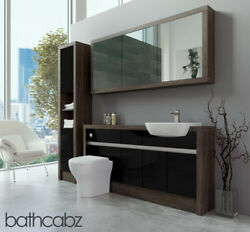 Bathroom Fitted Furniture Black Gloss/mali Wenge 1600mm H1 With Wall And Tall - Ba