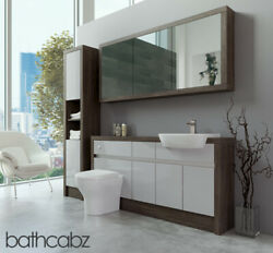 Bathroom Fitted Furniture Light Grey Gloss/mali Wenge 1600mm H1 With Wall And Tall