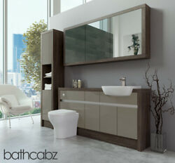 Bathroom Fitted Furniture Metallic Latte Gloss/mali Wenge 1600mm H1 With Wall And
