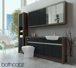 Bathroom Fitted Furniture Anthracite Gloss/mali Wenge 1700mm With Wall And Tall -