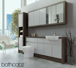 Bathroom Fitted Furniture Light Grey Gloss/mali Wenge 1700mm With Wall And Tall -