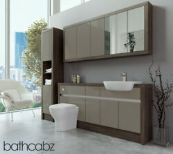 Bathroom Fitted Furniture Metallic Latte Gloss/mali Wenge 1700mm With Wall And Tal