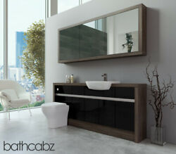 Bathroom Fitted Furniture Black Gloss/mali Wenge 1800mm H1 With Wall Unit - Bath