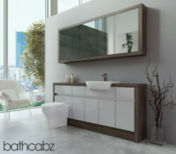 Bathroom Fitted Furniture Light Grey Gloss/mali Wenge 1800mm H1 With Wall Unit -