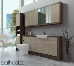 Bathroom Fitted Furniture Cappuccino Gloss/mali Wenge 1800mm With Wall And Tall -