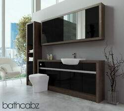 Bathroom Fitted Furniture Black Gloss/mali Wenge 1800mm With Wall And Tall - Bathc