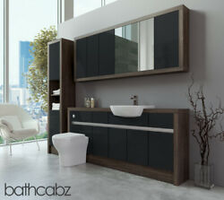 Bathroom Fitted Furniture Anthracite Gloss/mali Wenge 1800mm With Wall And Tall -