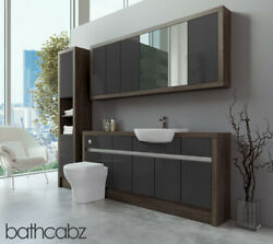 Bathroom Fitted Furniture Dark Grey Gloss/mali Wenge 1800mm With Wall And Tall - B