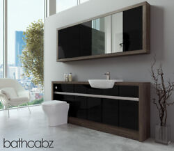Bathroom Fitted Furniture Black Gloss/mali Wenge 1900mm With Wall Unit - Bathcab