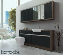Bathroom Fitted Furniture Anthracite Gloss/mali Wenge 1900mm With Wall Unit - Ba