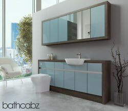 Bathroom Fitted Furniture Duck Egg Blue Gloss/mali Wenge 1900mm With Wall Unit -