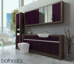 Bathroom Fitted Furniture Aubergine Gloss/mali Wenge 1900mm With Wall And Tall - B
