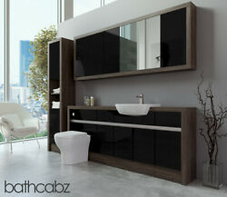 Bathroom Fitted Furniture Black Gloss/mali Wenge 1900mm With Wall And Tall - Bathc