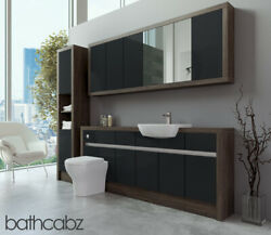 Bathroom Fitted Furniture Anthracite Gloss/mali Wenge 1900mm With Wall And Tall -