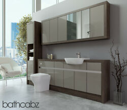 Bathroom Fitted Furniture Latte Gloss/mali Wenge 1900mm With Wall And Tall - Bathc