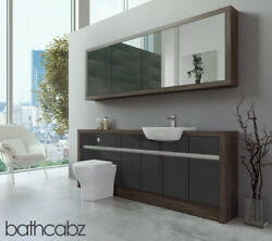 Bathroom Fitted Furniture Dark Grey Gloss/mali Wenge 2100mm H1 With Wall Unit -