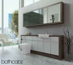 Bathroom Fitted Furniture Light Grey Gloss/mali Wenge 2100mm H1 With Wall Unit -