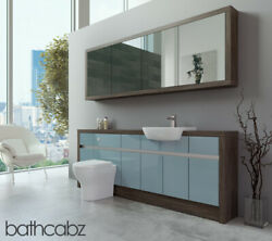 Bathroom Fitted Furniture Duck Egg Blue Gloss/mali Wenge 2100mm H1 With Wall Uni