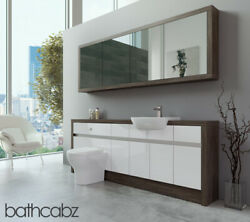 Bathroom Fitted Furniture White Gloss/mali Wenge 2100mm H1 With Wall Unit - Bath