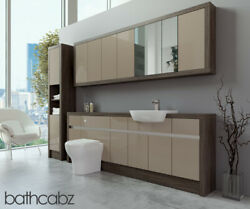Bathroom Fitted Furniture Cappuccino Gloss/mali Wenge 2200mm With Wall And Tall -