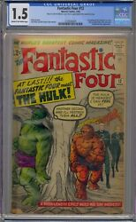 Fantastic Four 12 Cgc 1.5 1st Incredible Hulk Crossover