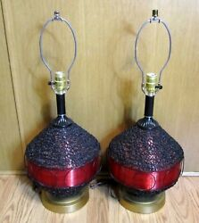 Pair Of Gilbert Softlite Large Spaghetti Table Lamps Red Black Lucite 1960's Mcm
