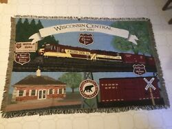 Wcl Wisconsin Central Limited Railroad - Employee Award Blanket Afghan 44 X 64