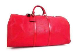 Louis Vuitton Red Epi Leather Keepall 55 Duffle Bag 240696