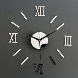 Luxury DIY 3D Wall Clock Decal Stickers Mirror Modern Home Decor Office Bedroom