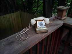 Vintage 1940s Western Electric Bell Systems F1 Ivory Model 302 H1 Gold Telephone