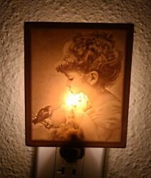 Vintage Porcelain Bisque Ceramic Night Light Lamp Glowing Little Girl With Bird
