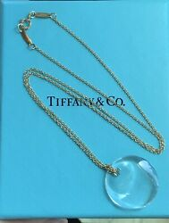 And Co. Elsa Peretti Rare Rock Crystal Disk 18k Yellow Gold Necklace 18andrdquo