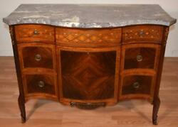 1890 Antique French Louis Xv Walnut And Satinwood Marble Dresser Chest Of Drawers