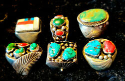 6 Navajo Turquoise Sterling Silver Rings - 6 Rings - 121 Grams - W/red Coral