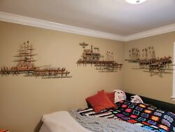 Bijan Vintage Wall Sculptures Pier, Fishermen's Wharf And Sailboats Brass Etched