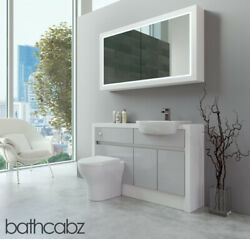 Bathroom Fitted Furniture Light Grey Gloss/white Matt 1300mm H2 With Wall Unit -