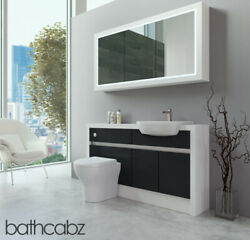 Bathroom Fitted Furniture Anthracite Gloss/white Matt 1400mm H2 With Wall Unit -
