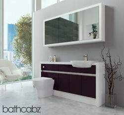 Bathroom Fitted Furniture Aubergine Gloss/white Matt 1600mm H1 With Wall Unit -