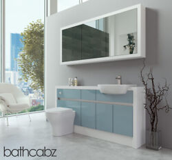 Bathroom Fitted Furniture Duck Egg Blue Gloss/white Matt 1600mm H1 With Wall Uni