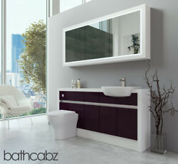 Bathroom Fitted Furniture Aubergine Gloss/white Matt 1600mm H2 With Wall Unit -