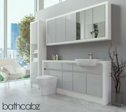 Bathroom Fitted Furniture Light Grey Gloss/white Matt 1700mm With Wall And Tall -