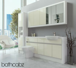 Bathroom Fitted Furniture Cream Gloss/white Matt 1700mm With Wall And Tall - Bathc
