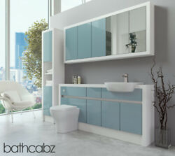 Bathroom Fitted Furniture Duck Egg Blue Gloss/white Matt 1700mm With Wall And Tall
