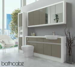 Bathroom Fitted Furniture Metallic Latte Gloss/white Matt 1700mm With Wall And Tal